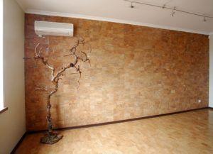 Отделка стен пробковой подложкой