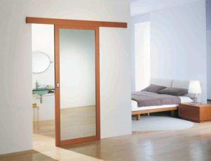 перегорожена раздвижными дверями