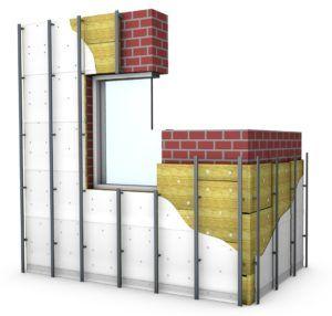 В первую очередь к стенам крепится утеплитель, затем гидроизоляция, а только потом собирается и фиксируется каркас из металлопрофиля.