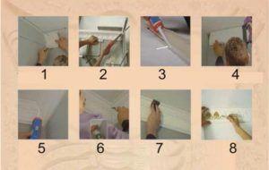 Монтаж декоративной планки на стык потолка и стены
