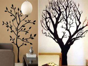 Варианты изображения деревьев на стене