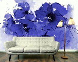 Крупные цветы на стене с прорисовкой контуров поверх изображения