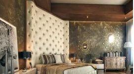 Мягкая панель в сочетании с венецианкой в спальне