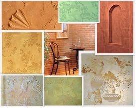 Различные цвета и фактуры декоративной штукатурки