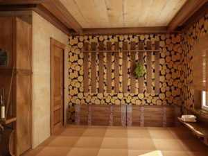 Спилы древесины в интерьере комнаты.