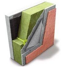 Поверх утеплителя, закрепленного на фасаде здания, кладется штукатурка, армировочная сетка, декоративное покрытие.