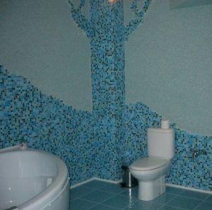 Сочетание декоративной штукатурки с мозаикой