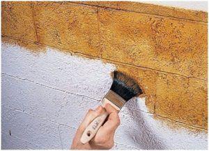 Способ имитации окрашиванием стены