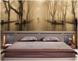 Фотообои на центральной стене в спальне
