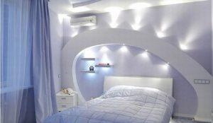 Уютный интерьер спальни со стенами из гипсокартона