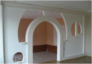 Декоративная арочная конструкция из ГКЛ