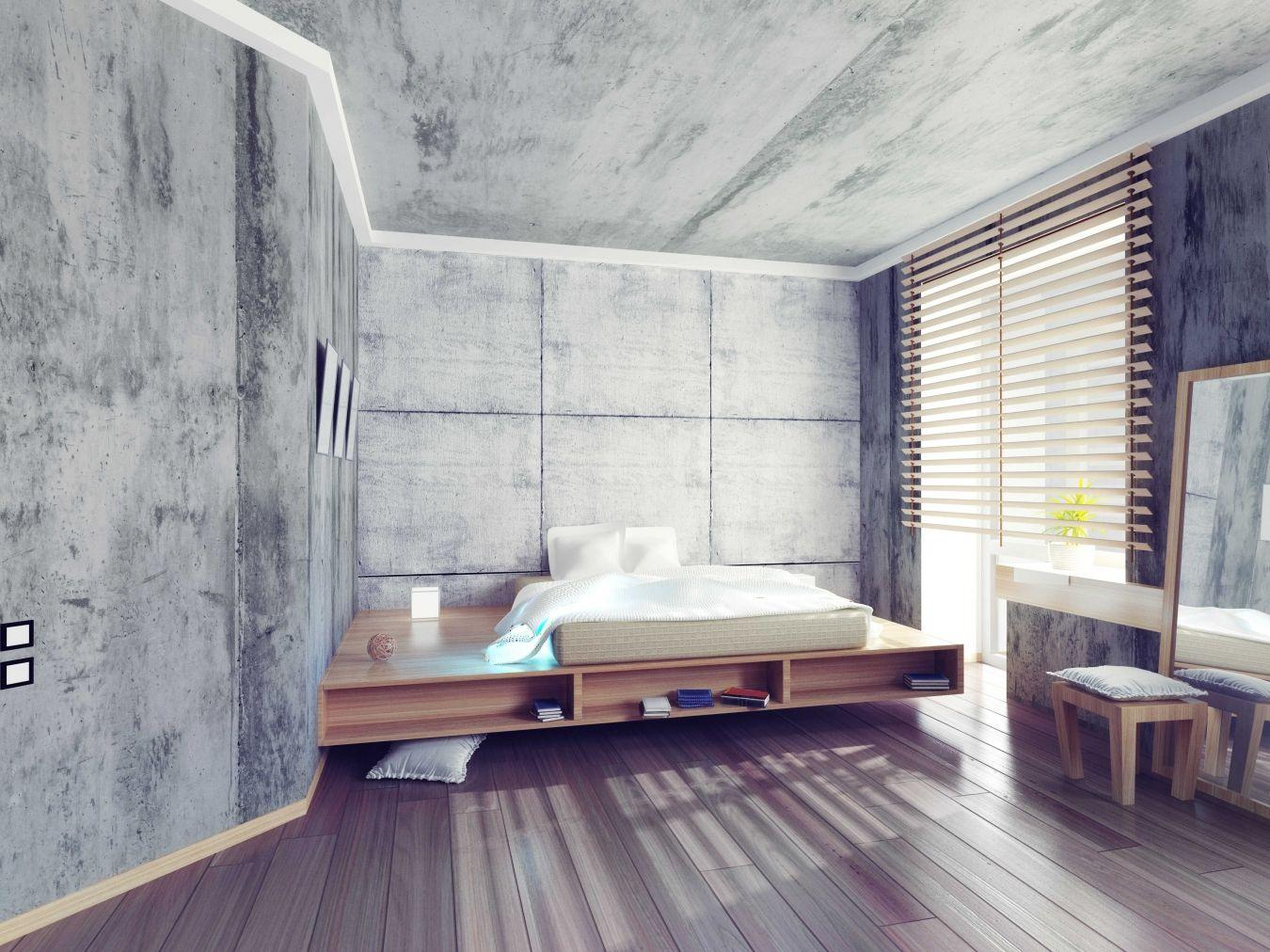 спальня бетон