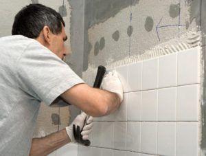 Укладка плитки на бетонную стену