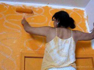 покрасить стену под мрамор