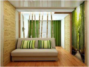 Спальня с бамбуковыми обоями