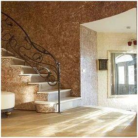 Декоративная штукатурка на стенах внутри кирпичного дома