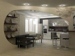 Стильное оформление кухни с гостиной.