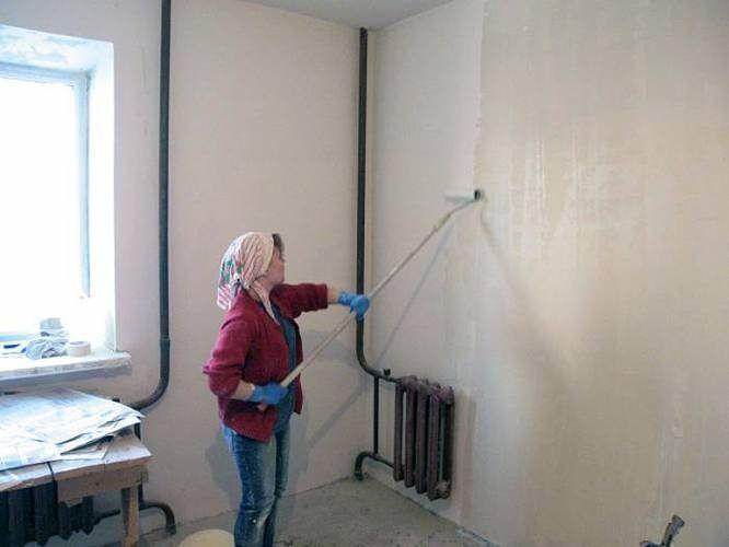 Грунтовка стен перед шпатлеванием