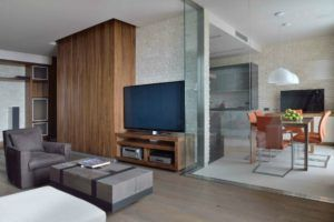 Разделение кухни и гостиной при помощи стеклянной перегородки