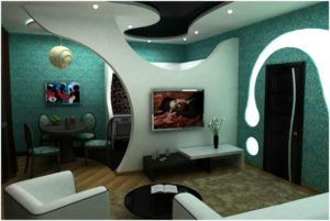 Декоративная перегородка из гипсокартона для зонирования комнаты