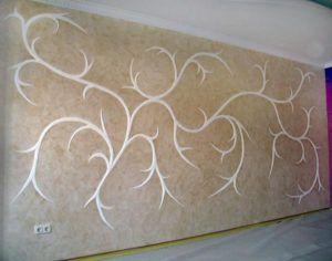 Готовая штукатурная структурная смесь создает оригинальные узоры на стенах