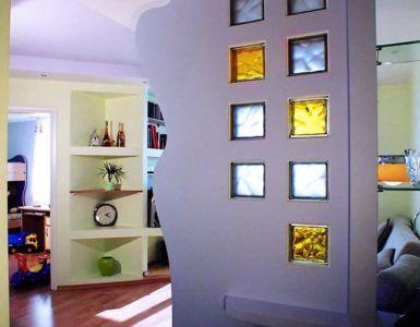 Сочетание гипсокартона со стеклянными блоками