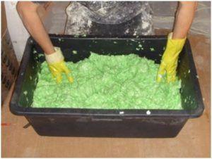 Процесс приготовления декоративной штукатурки с эффектом шёлка